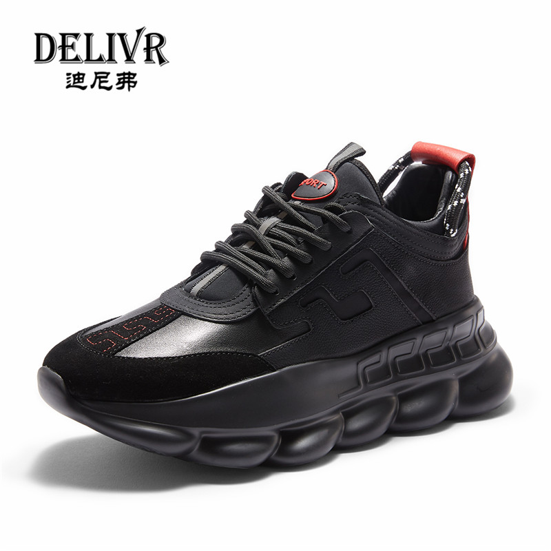 Delivr Black Sneakers Men Unisex Thick Sole Breathable Vulcanized Shoes Masculino Adulto Dad Shoes High Platform Sneakers Men