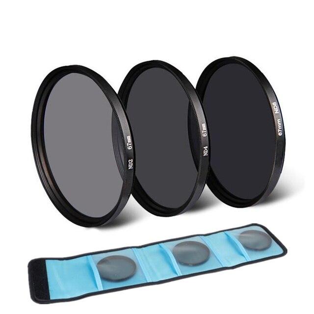 Neutral Density ND 2 4 8 Ống Kính Lọc Thông Tư Bảo Vệ 37/40/5/43/46/49/52/55/58/62/67/72/77/82 mét + Túi cho Canon Nikon Sony