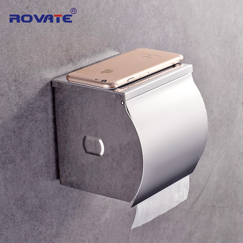 ROVATE Stainless Steel Toilet Paper Holder Mirror Polish Paper Phone Stand Wall-Mount Roll Holder With Shelf Bathroom Accessory meifuju vintage toilet paper holder with shelf wall mount bathroom accessories bronze paper holders antique brass roll holder