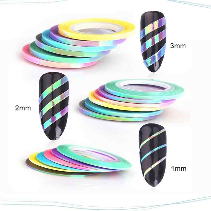 18 Rolls Nail Art Liner Shining DIY Durable 1MM/2MM/3MM Manicure Nail Liner Tape Tool for Girls Lady Women