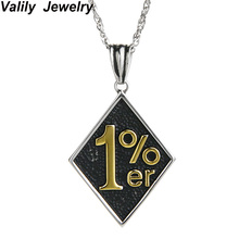 Valily Jewelry Mens Necklace Vintage Casting Punk Biker 1% er  Pendant Stainless Steel Motorcycle Long For Men