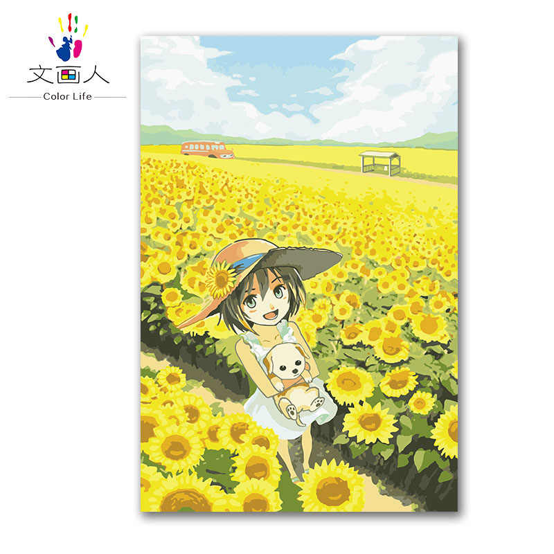sunflowers girl in the field painting by numbers drawing coloring picture canvas painting by number modern hoom room decoratio