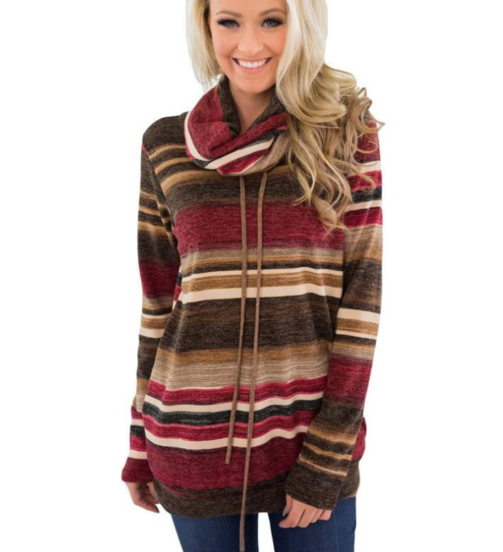 2019 Autumn Women Hoodies Sweatshirts Multicolor Striped Long Sleeve Hoodies Pullover Casual Loose Cotton Harajuku Hoodies Top