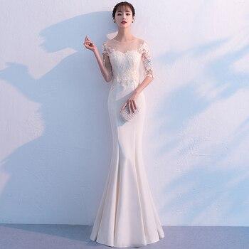 цена на White Vintage Mermaid Lace Long Evening Dresses Half Sleeves scoop neck long appliques evening dress prom dress gaun malam
