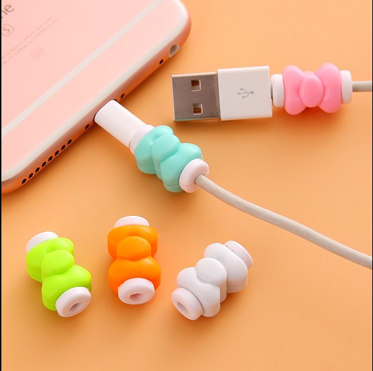 10pcs lot Bow Earphone Charger Wire Cable Protector Cover Charging Line Data Cable Protection Sleeve Cable