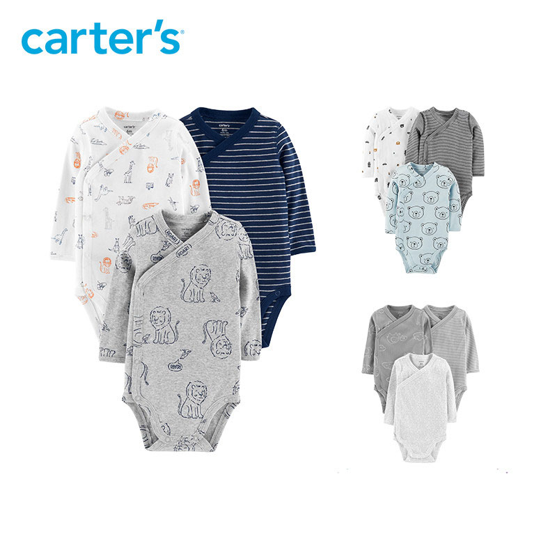 Carters 3Pcs baby boy bodysuit Cute print side-snap long sleeve cotton bodysuits newborn baby clothes 126H439/126H438/126H506 contrast striped side bodysuit
