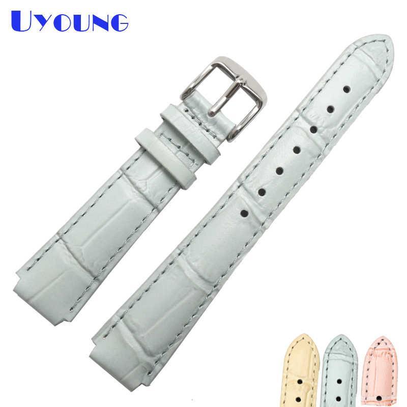 Laatste charm lederen horloge strap 18*14mm lederen horlogebanden Groothandel lederen armband bamboe graan gestikt horloge riem