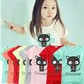 Camiseta de los niños de 3-6 años niñas NUEVOS Niños Encantadores Gato t camisa enfant muchacha niños tops Camiseta de Manga Corta de verano camisetas de los cabritos camisas