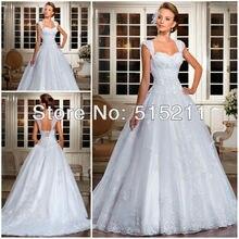 Lace Cap Sleeves Bridal Princess Ball Gown Wedding Dresses 2015 New Arrival Vestidos De Noiva