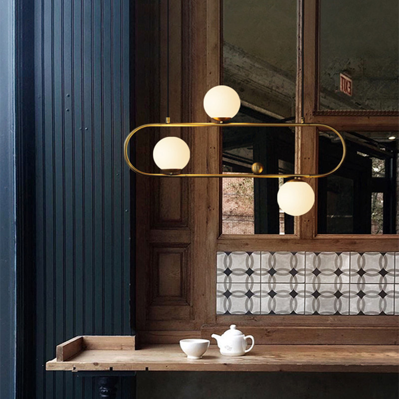 Industrial Style Art Swing Buckle Design Pendant Light Nordic Retro Glass Ball Restaurant Parlor Coffee Shop Light Fixtures