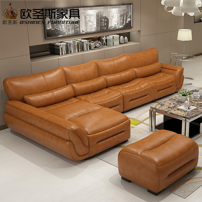 New Model L Shaped Modern Italy Genuine Real Leather Sectional Latest Corner Furniture Living
