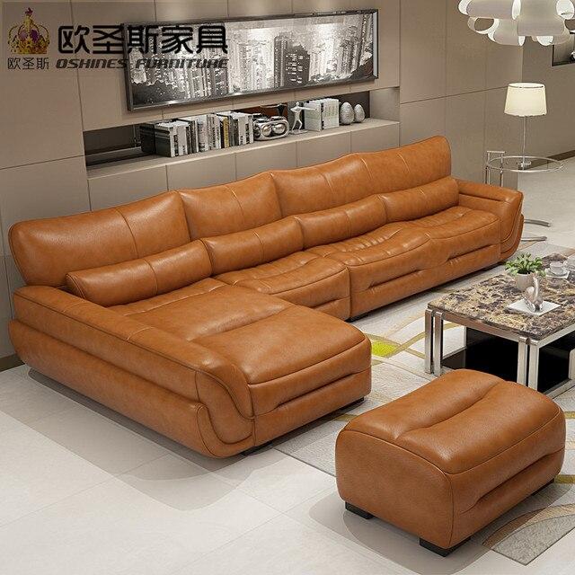 Nouveau modèle en forme de L moderne italie véritable en cuir ...
