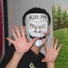 X שמח צעצוע נשיקה לי טיהור מסכת תלבושות אימה מפחיד ליל כל הקדושים בלאדי PVC למבוגרים מסיבת בחירות מסכות זכר נקבה masker
