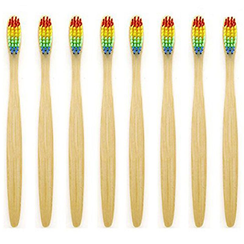 Natural Bamboo Toothbrush Made with Rainbow Nylon Infused Bristles in Recycled Biodegradable Packaging image