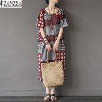 2017 ZANZEA Vintage Summer Women Floral Print Short Sleeve O Neck Cotton Linen Pacthwork Dress Casual