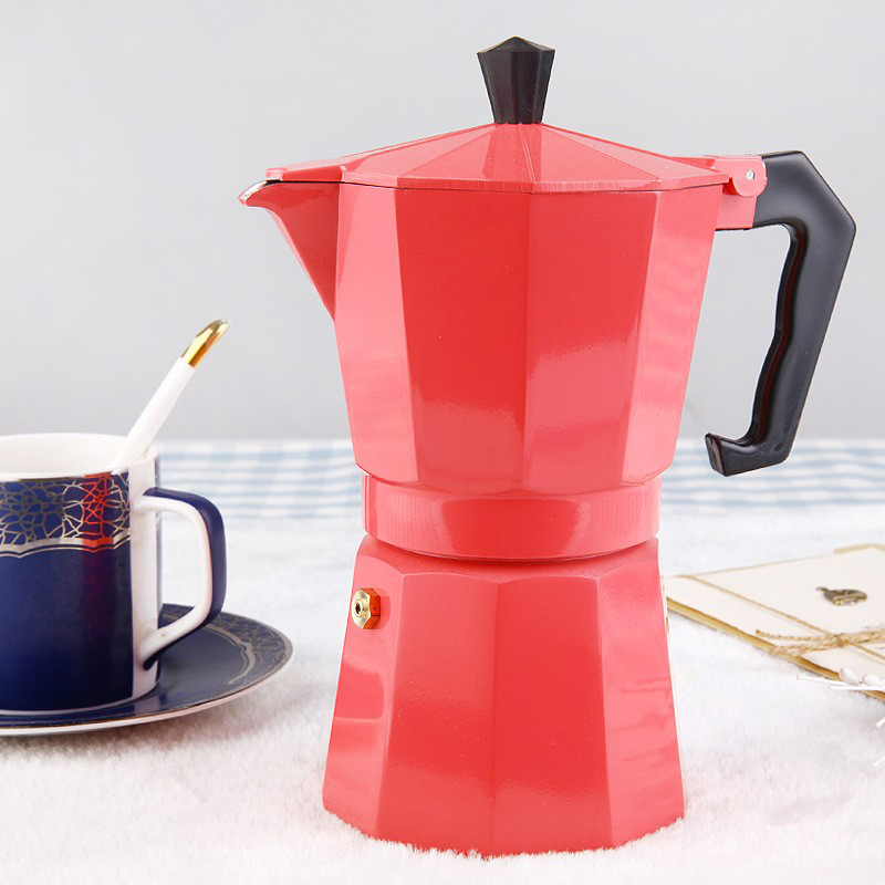 Household Manual Espresso Pot Aluminum Steam Coffee Kettle Handmade Black Coffee Mocha Pot Espresso Home Maker Coffee Appliance