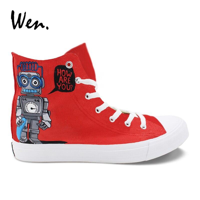 Wen Design Peint À La Main Chaussures De Bande Dessinée Crocodile Dragon Robots Rouler Skate Haut Rouge Bleu Toile décontracté Unisexe Baskets