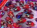 Mejor resina 11x18mm gota gotita cristales rojo AB color flatbak strass para Costura Diamantes con piedras falsas Cuentas strass Diamantes con piedras falsas Costura