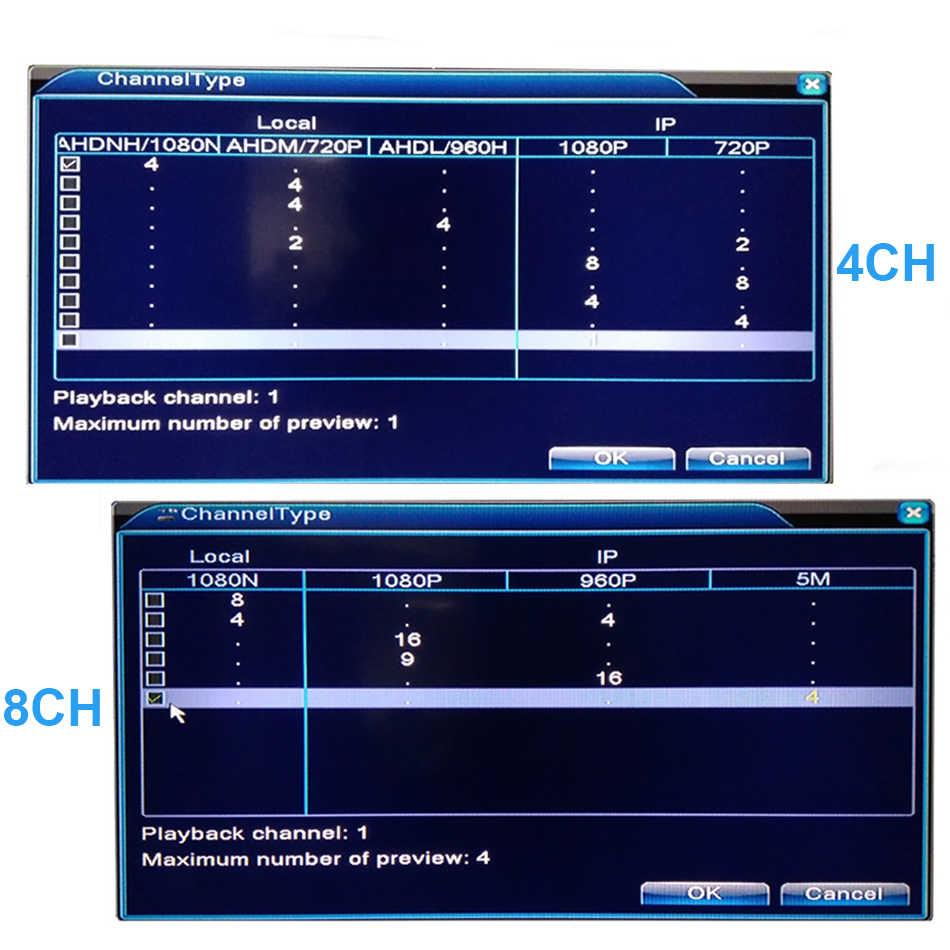 5 En 1 CCTV Mini DVR TVI CVI AHD CVBS IP de la cámara grabadora de vídeo Digital 4CH 8CH AHD DVR NVR sistema CCTV P2P seguridad Hiseeu