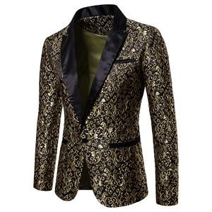 Image 4 - Noir Jacquard bronzant Floral Blazer hommes 2018 marque de luxe simple bouton Costume veste hommes de mariage scène Costume Homme 2XL