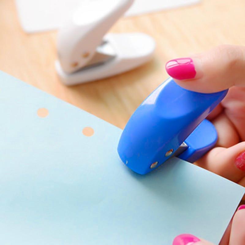 Mini Portable Pocket-size Single Hole Punch Loose-leaf DIY 6mm Standard Manual Punch Color Random