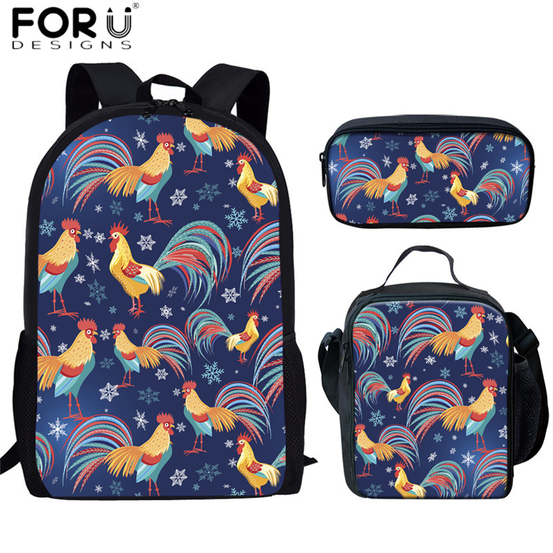 FORUDESIGNS School Bags Set Funny Animal Rooster Print Large Backpacks for Children Bookbags Cute Primary Students 3pcs Rucksack(China)