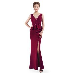 Image 4 - 2020 שמלות נשף אי פעם די EP07271 אלגנטי אונליין צווארון V שרוולים רגל סדק בורגונדי ואגלי ערב מסיבת שמלות לנשים