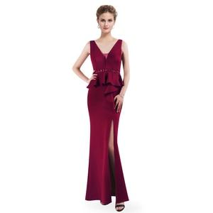 Image 4 - 2020 Prom Dresses Ever Pretty EP07271 Elegant A line V neck Sleeveless Leg Slit Burgundy Beading Evening Party Dresses for Women