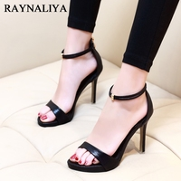 New Women Sandals Platform Shoes Open Toe High Quality High Heels Black Solid Color Prom Wedding