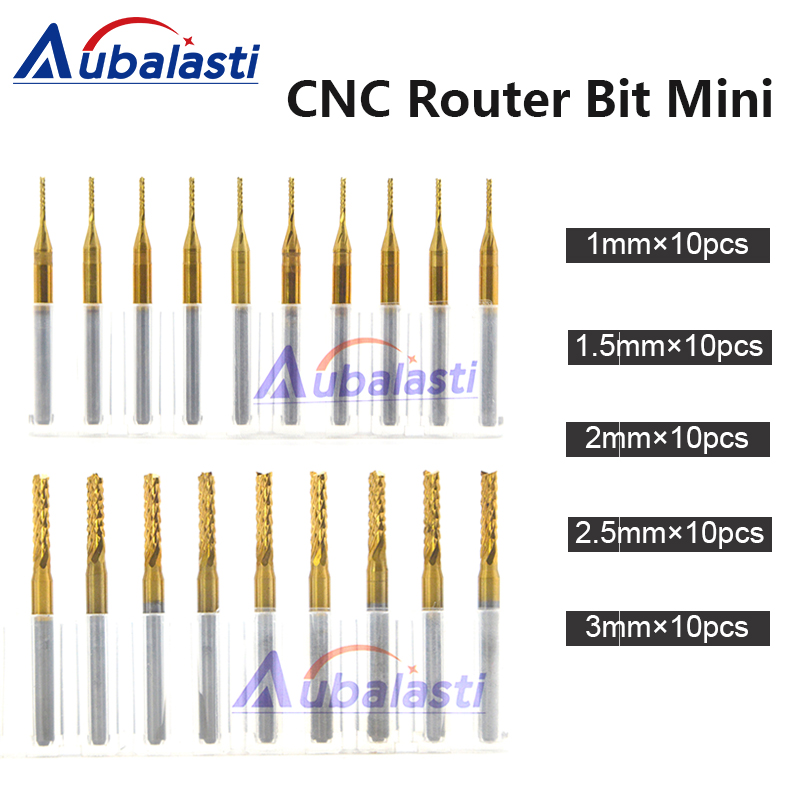 CNC Machine Router Bit Mini PCB Carbide End Mill Tools 3.175 Diameter Cutting Bits CNC Milling Cutters Kit & cnc cutter milling 10pcs 10 x 30 degree 0 1mm titanium milling cutters coated carbide pcb engraving bit cnc router tool tip end mill