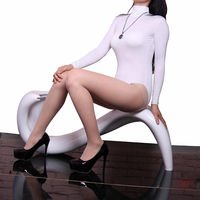 Women Solid Color Stretchy Tight Bodysuit High Neck Long Sleeve Hiphuggers Leotard Under Shirt Teddy Black White Overalls