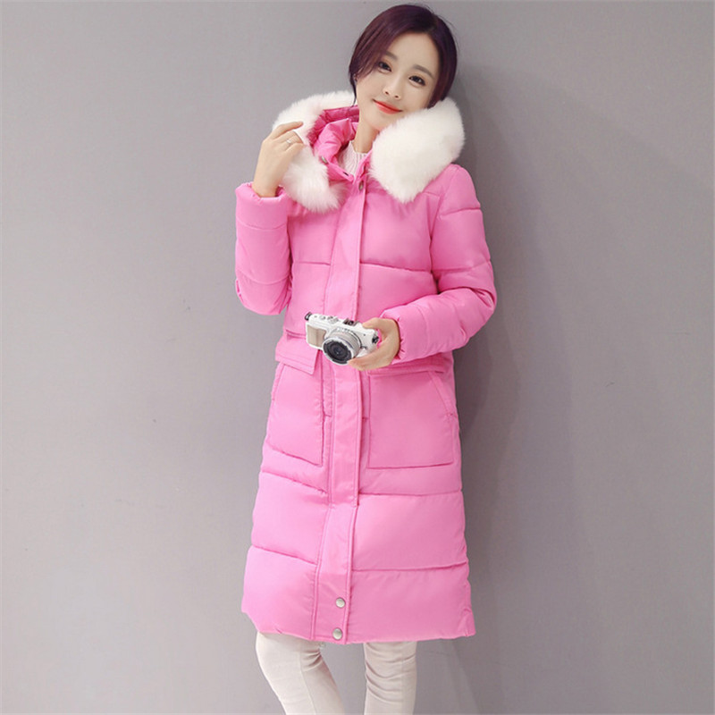 Winter Plus Size Fur Collar Hooded Warm Padded Parka Thick Female Winter Coat Solid Color Cotton Wadded Winter Jacket TT3182 x long cotton padded jacket female faux fur hooded thick parka warm winter jacket women solid color wadded coat outerwear tt763