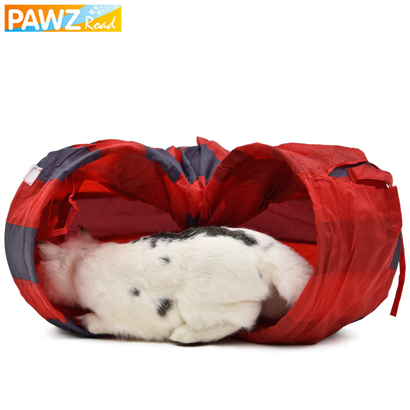 PAWZRoad Pet Cat Play Tunnel Legetøj Rød-Grå Sammenfoldelig 2 Huller Cat Tunnel Play Crinkle Sound Cat Lille Animal Kanin Play Tunnel