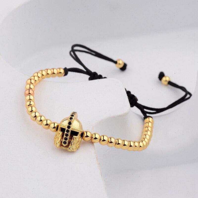 DOUVEI Roman Knight Warrior Gladiator Beaded Pave Setting Bracelet Men 4mm Copper Elastic Bracelets For Women Jewelry AB1017