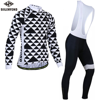Siilenyond 2019 Winter Thermal Fleece Cycling Jersey Set Keep Warm Cycling Clothing Suit Long Sleeve MTB Bike Cycling Clothes 1