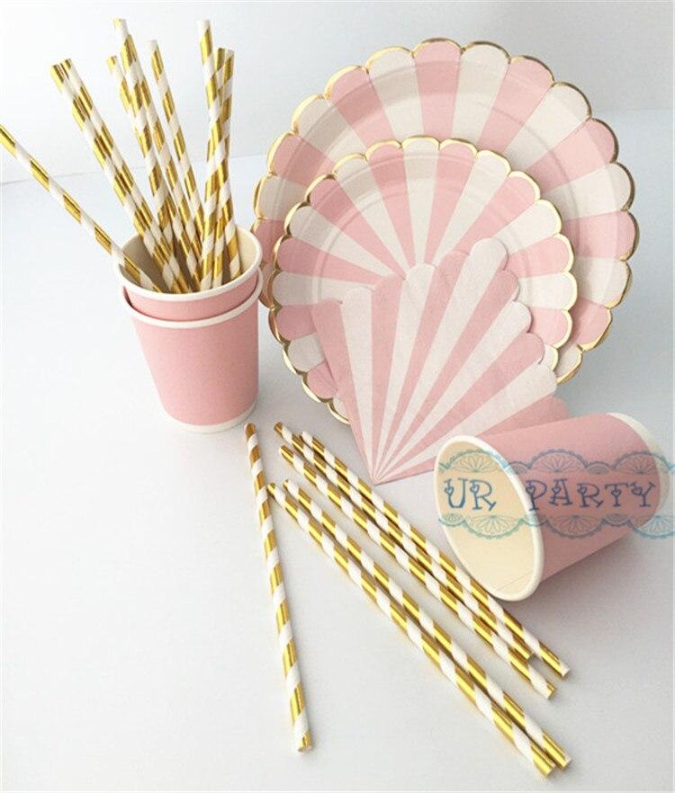 40 People Party Paper Plates Napkins <font><b>Cups</b></font> Straws Disposable Tableware Metallic <font><b>Gold</b></font> Pink Stripe Theme Party Wedding Decor