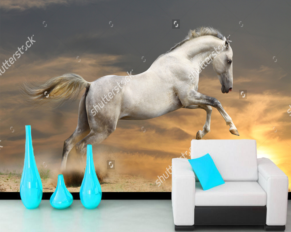 Customize horse wallpaper,silver-white stallion in sunset, photo landscape for living room bedroom sofa background wallpaper
