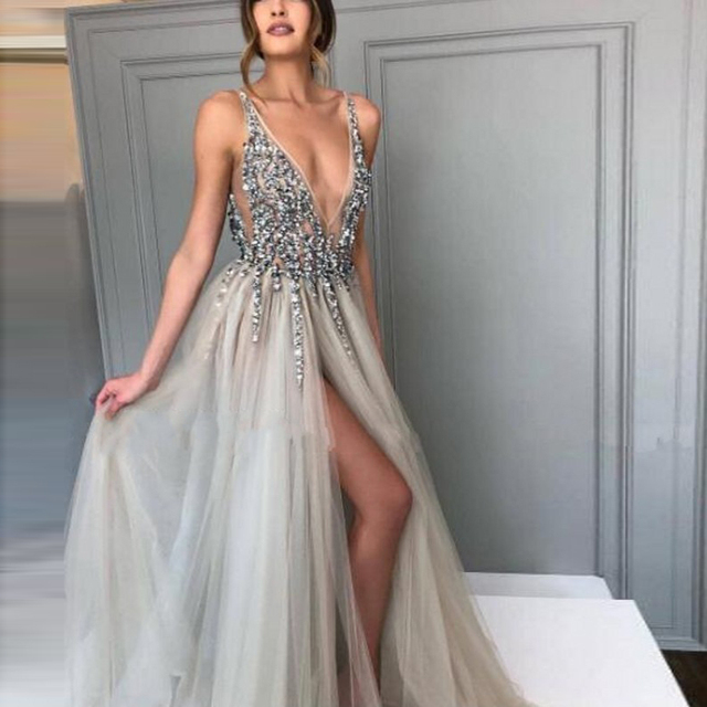 09ee9ca30d1 Pearl Sequins V-Neck Chic Evening Gowns Puffy Ruched Side Slit Sleeveless  Sexy Prom Dresses 2017 Floor Length Long Evening Dress