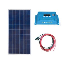 Kit Solar Placa 12V 150W Waterproof Battery Charger Charge Controller 12v/24v 10A PV Cable 5M System