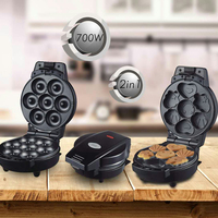 Waffle Bakeware DSP Mini Donut and Cute Cake Two In One Electric Maker Kit Set Small Donut Snack Machine Donut Maker Dropship