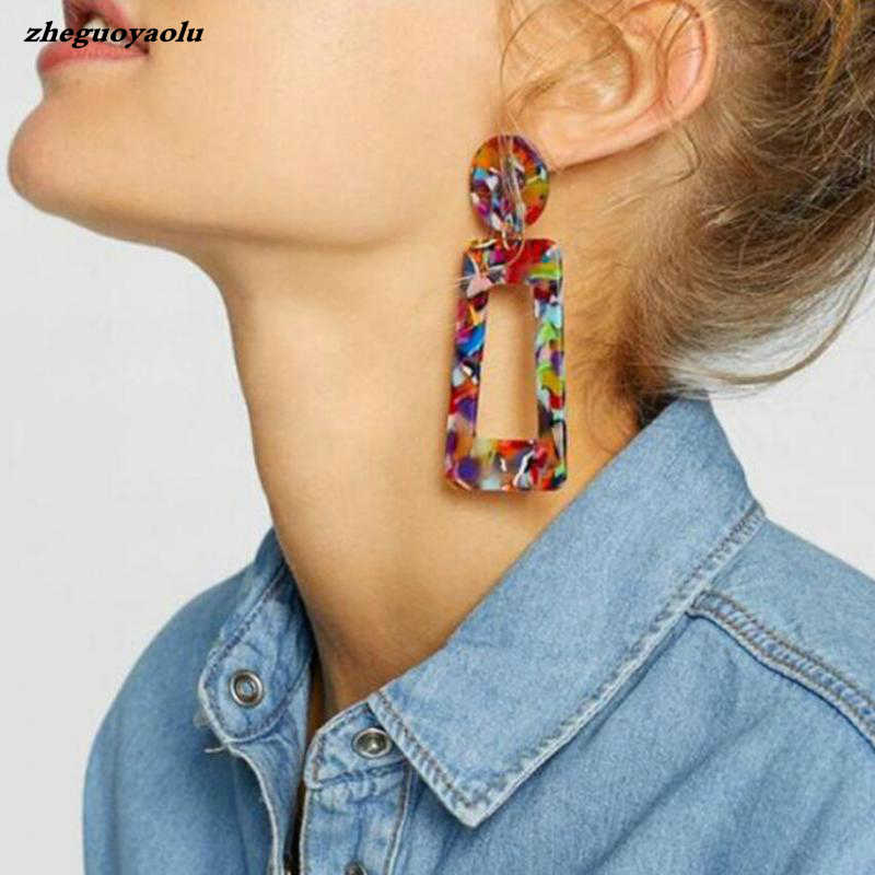 Ladies Fashion Resin Pendant Earrings Female Wedding Jewelry Bohemian Elegant Shiny Pendant Statement Earrings Christmas Gifts