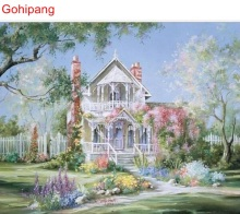 Check Price Beautiful Castle Garden DIY Oil Painting By Numbers Drawing Kits Painting By Numbers With Inner Wooden For Home Decor