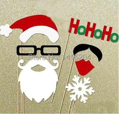 7 stksset Nieuwe Collectie Papercard Christams Kerstman Funny Photo Booth Props Masker Kinderen