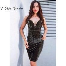 Здесь можно купить  V Neck Velvet Dress Women Sexy Bodycon Casual vestido de festa Female Music Festival Red Party Velour Boho Little Black Dresses