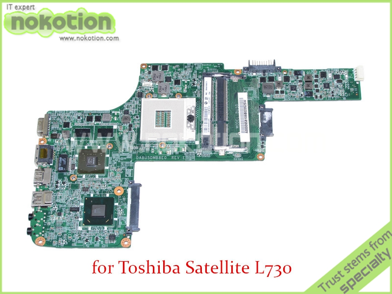 NOKOTION DABU5DMB8E0 REV E A000095810 For toshiba satellite L730 laptop motherboard HM65 graphics DDR3 nokotion for toshiba satellite a100 a105 motherboard intel 945gm ddr2 without graphics slot sps v000068770 v000069110