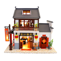 Doll House Chinese Style Hotel Miniature Dollhouse Assemble Kit Toys Wooden Retro Shop Furniture House Toys for Children
