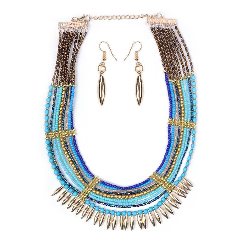 Manerson moda mujeres collar colgante babero perlas africanas joyería conjunto c