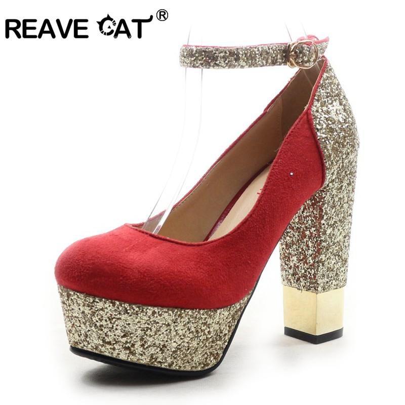 REAVE CAT Spring Autumn Sexy Fashion Thick High Heels Platform Shoes Woman Girls Wedding Women Pumps