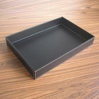 40x30 cm duży prostokąt drewno serwowania czarna skóra tace bandejas dla zastawa stołowa żywności przekąski owocowe cukrów do przechowywania 294A w Tace od Dom i ogród na