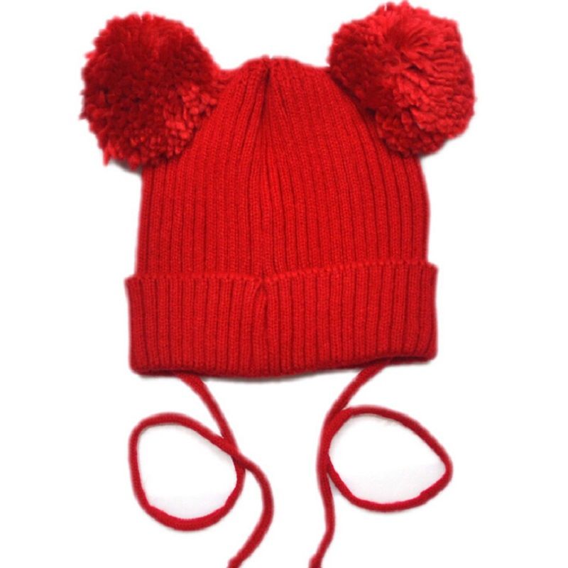 Moeble Toddler Double Pom Pom Hat Knit Baby Toddler Kids